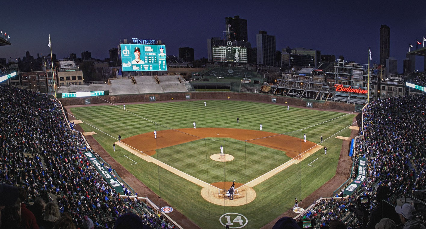 Wrigley field during a game