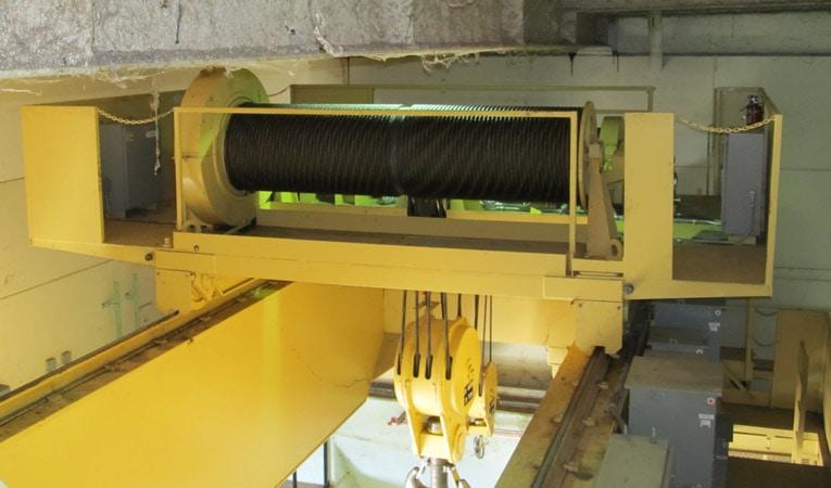 Yellow industrial hoist for the Ozark Powerhouse